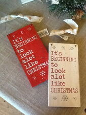 'It's BEGINNING to look a lot like CHRISTMAS' sign with East of India Ribbon