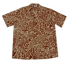 Cotton Blended Cream brown Tattoo Polynesian Hawaiian Aloha Men Shirt-M-3XL