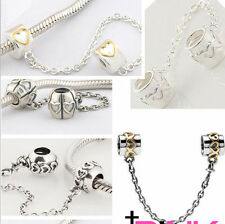 925 Sterling Silver Safety Chain Series B fit European Bead Charm Bracelet