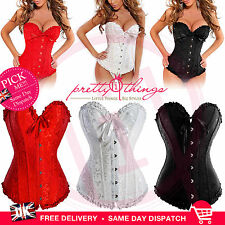 UK Sexy Lace Boned BUSTIER BASQUES CORSET LINGERIE SETS FREE G-STRING PLUS SIZE