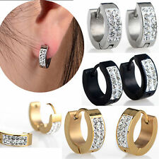 1Pair New Punk Mens Women Crystal Stainless Steel Ear Hoop Stud Earrings Gauges