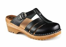 TROENTORP BASTAD SWEDISH WOODEN CLOGS - MARY JANE BLACK - MADE IN SWEDEN
