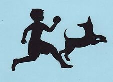 Cricut Silhouette Die Cut - Boy Playing Ball with Dog - Scrapbooking Die Cut