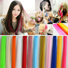 Multi Color Women Long Straight Synthetic Clip in on Hair Extensions Piece