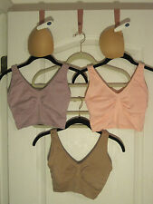 """Rhonda Shear 3-pack """"Ahh"""" Bras ~ Medium ~ Pink/Lilac/Beige with (1) Set of Pads"""