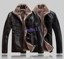 WINTER MENS WARM SHEARING FUR LINING LEATHER DRESS SHEEPSKIN COAT JACKET PARKA
