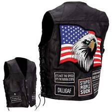Mens Black Leather Concealed Weapon Motorcycle Biker Vest with Biker Patches