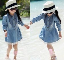 Girl Kids 2-8Y Lovely Denim Blue Beautiful Lace Cowboy Clothes Long Sleeve Dress
