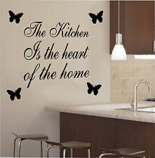 The Kitchen Is The Heart Of The Home Quote, Decal, Wall Art, Decor, Free P&P