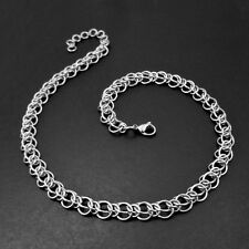 Stainless Steel Chain Mail Choker Necklace - Alternating Half Persian Maille