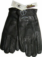 Fleece Lined  Thermal Insulated Genuine Black Leather Mens Gloves