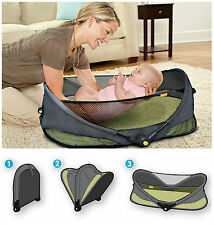 Brica Portable Folding Travel Bassinet Baby Bed - On The Go Infant Cot
