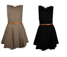 Womens Mini Party Dress Sleeveless Tailored Skater Ladies Belted Top Pleated