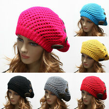 Women's Winter Knit Baggy Beanie Cap Oversize Hat Crochet Trapper Ski Buttons