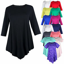 Ladies Womens Plus Size Three Quarter Sleeve Round Neck Tunic