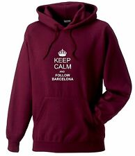 KEEP CALM AND FOLLOW BARCELONA FAN HOODY ALL SIZES AVAILABLE