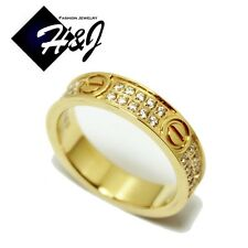 Women's Stainless Steel 5mm Gold Screw Heads Eternity Pave CZ Wedding Band Ring