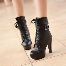 Military Platform Women Combat Cross Strap High Heels Lace Up Shoes Ankle Bootie