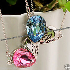 WHITE GOLD LOVE HEART NECKLACE CLEAR CRYSTAL VALENTINE GIFTS HER WIFE GIRLFRIEND