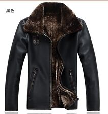 man's Real lambs wool collars The tank Business and leisure leather jacket coat