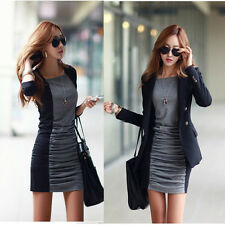 Korean Womens Splicing Slim Mini Dress Winter Warm Thicker Bottoming Shirt Tops