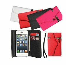 Zipper PU Leather Wallet Flip Case Card Holder for iPhone 4 4S