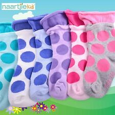 Naartjie Girls Fashion Cotton Short Crew Socks 6 Pairs Pack Large Dot Roll Top