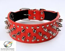 DOG COLLAR - RED LEATHER SPIKES SPIKED & STUDS STUDDED 20 22 24 26 28 Inch