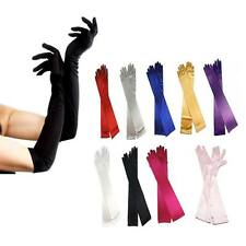 "Over the Elbow 15"" Long Satin Stretch Formal Gloves Bridal Prom Wedding Womens"