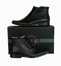 Mens Goor Leather Lined Square Toe Zip Up Dress Casual Slip On Boots Black M160A