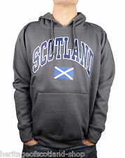 Scotland Saltire Flag Unisex Hooded Top, Long Sleeve, Charcoal Grey, All Sizes