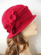 100% Women's Wool 1920s Soft Cloche Bucket Flower Church Hat/Cap (6 COLORS)
