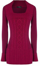 Ladies women square neck jumper dress cable knitted with fluffy soft rib neck