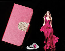 Bling Glossy Gilter Wallet Flip Case Cover For iPhone 4 / 4S - HOT PINK