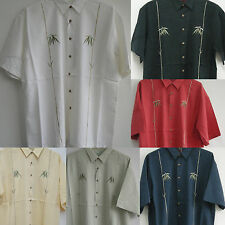 New Hawaiian resortwear ALOHA Rayon Shirts Bamboo Embroidered Sewn Button front