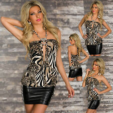Femmes sexy clubbing cheap chemisier chemise Leo Look mesdames party top taille 6 8 10 S M