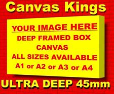 YOUR PHOTO PICTURE on to a A1 + A2 + A3 + A4 Box Canvas ULTRA DEEP FRAMED