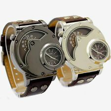 OULM Russian Army Military Style Dual Time Leather Band Mens Sport Wrist Watch
