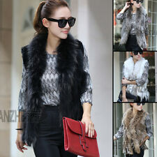 Genuine Women's Raccoon Collar Trim Knit Rabbit Fur Vest Waistcoat Gilet Jackets