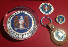 UNITED STATES GOVERNMENT AGENCY GLASS  PAPERWEIGHTS & SILVER PLATED BADGES: