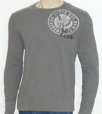 American Eagle Outfitters Double Logo Mens Gray Long Sleeve Shirt New NWT