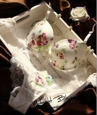 New Luxury White Flower Printed Push Up Lace Bra & Briefs Sets 32-38 B C Bra Set