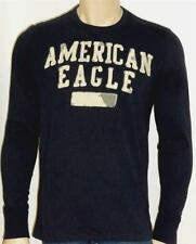 American Eagle Outfitters AEO Mens Dark Navy Applique Long Sleeve T-Shirt NWT