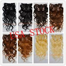"USA STOCK ! 20""remy human hair Wavy clip In Extensions 70g ,3-5 days delivery!"