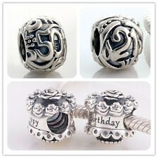 Jaime 925 Solid Sterling Silver Birthday Bead fit European Charm Bracelet