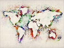 Map of the World Map, Abstract Art Print Poster - s778