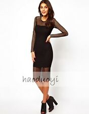 Sexy Tough Girl Long Sleeve Mesh Little Black Dress New Punk Night Club Casual