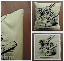 Alice In wonderland White Rabbit - Cushion Fabric Panel Or Case or with Filling