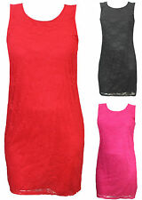 New Womens Plus Size Lace Floral Sleeveless Dress Ladies Lace Dress Sizes 16-26