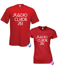 Radio Clyde 261 Replica Red T-shirt as worn by Frank Zappa Men, Ladies Fit, kids